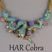 Vintage HAR Cobra Serpent Rhinestone & Lava Stone Necklace Consigned