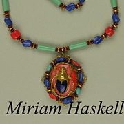Vintage Miriam Haskell Egyptian Revival Scarab Necklace Consigned
