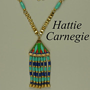Vintage Hattie Carnegie Egyptian Revival Tasseled Necklace Consigned