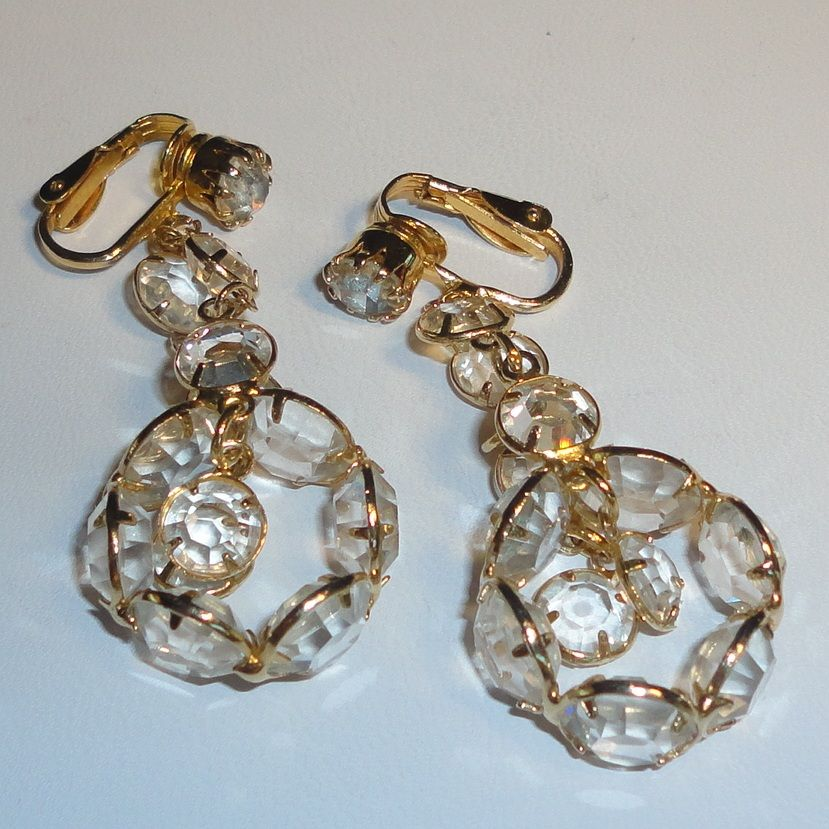 Vintage Bezel Set Clear Crystal Hoop Dangling Earrings