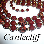 SALE Vintage Rich Brown Art Glass 3 Strand Castlecliff Necklace