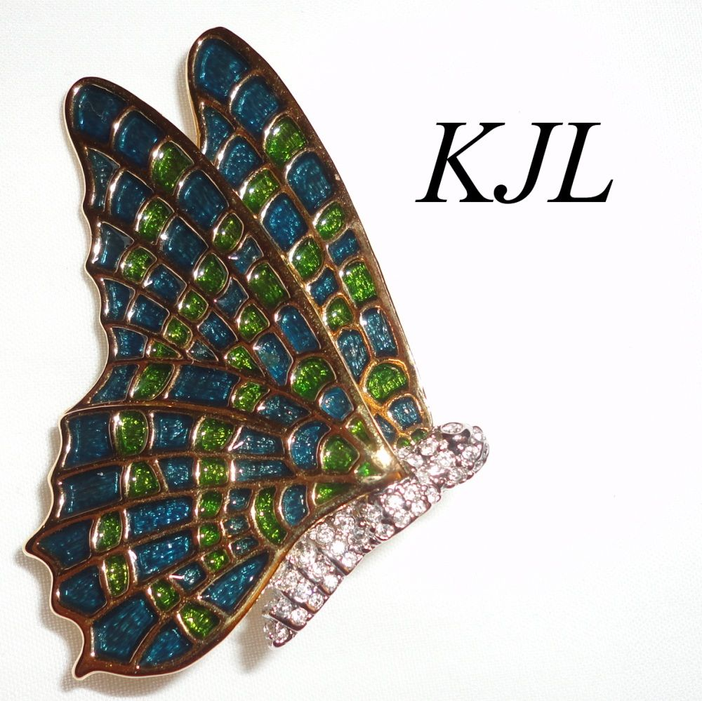KJL Kenneth J. Lane Butterfly Brooch &quot;Stained Glass&quot; Look Book Piece
