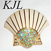 KJL Art Deco Style Scallop Shell Brooch with Green & Blue Rhinestones