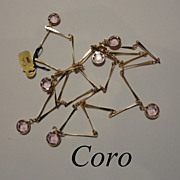 Vintage CORO Bezel Set Pale Pink Dangling Crystal Necklace with Tags