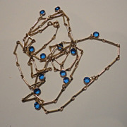 Vintage Dangling Blue Bezel Set Crystal Necklace Super Long at 44""