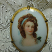 Victorian Miniature Porcelain Portrait Brooch Pin Lady with Blue Ribbon