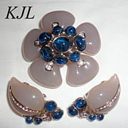 Kenneth J. Lane KJL Big Lavender & Cobalt Flower Brooch & Earrings Book Piece
