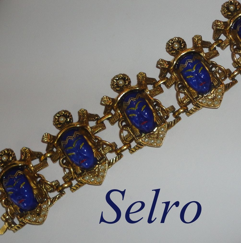 Vintage Selro Cobalt Blue Thai Asian Princess Face Bracelet with Native American Headress