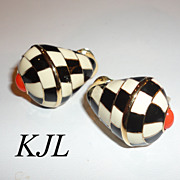 KJL Kenneth J. Lane Checkered Trumpet Shell Clip Earrings