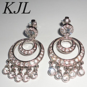 KJL Kenneth J. Lane Hollywood Event Dangling Clear Rhinestone Clip Earrings Book Piece