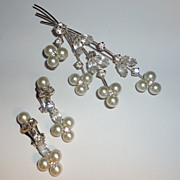 Dazzling Rhinestone & Faux Pearl Floral Spray Brooch & Drop Earrings Set