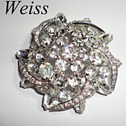 Vintage Clear Rhinestone Weiss Brooch Pin with Pave Ribbons