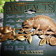Artifacts by J.J. Chameleon & Frog Brooch Pin on Original Card