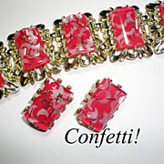 Vintage Lucite Confetti Moons Bracelet & Earrings Set in Deep Pink
