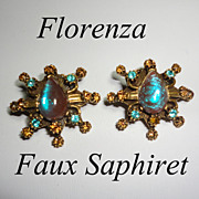 Vintage Florenza Faux Saphiret 1960s Starburst Earrings