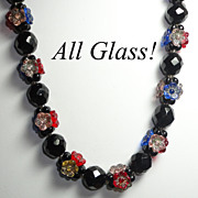 Stunning Glass Flower Bead Necklace in Black & Rich Royal Jewel Tones