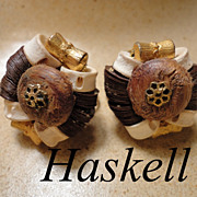 Miriam Haskell Tribal Bone & Wood Clip Earrings