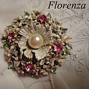 Vintage Florenza Pastel Rhinestone Flower Brooch with Whitewash Gilt Finish