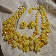 Vintage Bright Yellow Plastic Bead Multi Strand Necklace and Earrings Set