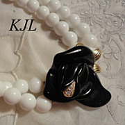 Kenneth J Lane for Avon Black Midnight Rose Necklace with White Beads