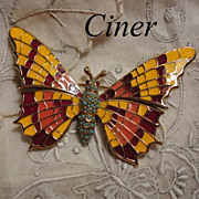 Vintage Ciner Enamel Butterfly Brooch Pin