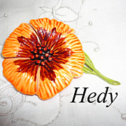 Vintage Hedy Bright Orange Enamel & Rhinestone Flower Power Brooch Pin