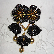 Vintage 1930s Dangling Festooned Black Plastic Flower & Bells Brooch