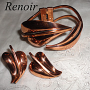 Renoir Vintage Copper Leaf Hinged Bypass Bracelet & Earrings Set