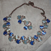 Vintage Blue Thermoset Tulip Necklace & Earrings Set