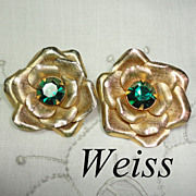 Weiss Vintage Large Flower Earrings with Green Center Rhinestones