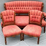 Three Piece Egyptian Revival Parlor Set In Walnut