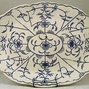 Large Flow Blue Oval Platter Signed Dunn & Bennett & Co.