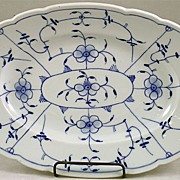 Meissen Style Flow Blue Platter In A Blue Onion Pattern