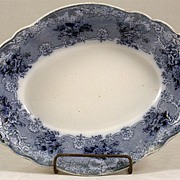 Flow Blue Vegetable Bowl Signed John Maddock & Sons