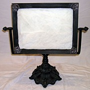 Circa 1900 Cast Bronze & Silver Table Mirror