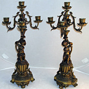 Fine 19th Century Mantel Candelabra With Putti