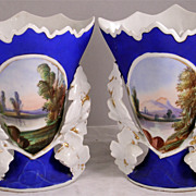 "Lovely Pair of ""Old Paris"" Scenic Vases"