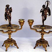 Extraordinary Pair of Bronze & Brass Figural Candle Stands