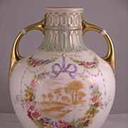Large 19th Century  Austrian Hand-Painted Vase