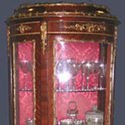 Louis XV Vitrine In Mahogany Ormolu and Bronze With Painted Panels