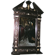 Important Victorian Ivory Inlaid Ebony Mirror, Italian Renaissance Style