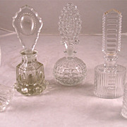 Circa 1900-30 Molded Glass Perfume Bottles