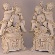 Fine Pair Of Parian Porcelain Putti Statues