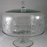 Vintage Large Covered Glass Cake Pedestal and Dome
