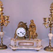 19th Century French Gilt Bronze Three Piece Clock & Garniture