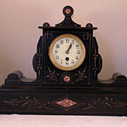 19th Century French Black Marble Clock & Garniture Set