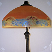 Circa 1920 Arts & Crafts Reverse Painted Lamp