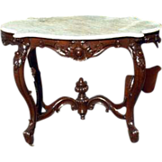 Rococo Walnut and White MarbleTurtle Topped Center Table