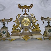 Renaissance  Revival, Three Piece Clock-Garniture Set