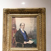Mid 19th c Watercolor on Paper, Portrait of President John Tyler (1841-45)